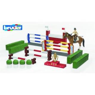 Bruder 62530 - Großer Pferde-Springparcours mit Reiterin, Pferd und Zubehör