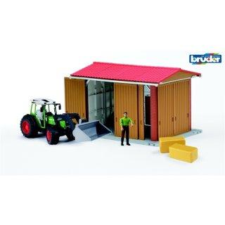 bruder Profi-Serie bworld Maschinenhalle mit Fendt Traktor mit Frontlader, Figur und Zubehör