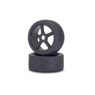 CARSON 500900076 1:8 Reifen/Felgen-Set On-Road schw. (2)