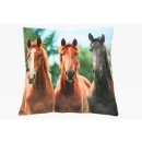 Plüsch Kissen Motiv Pferde